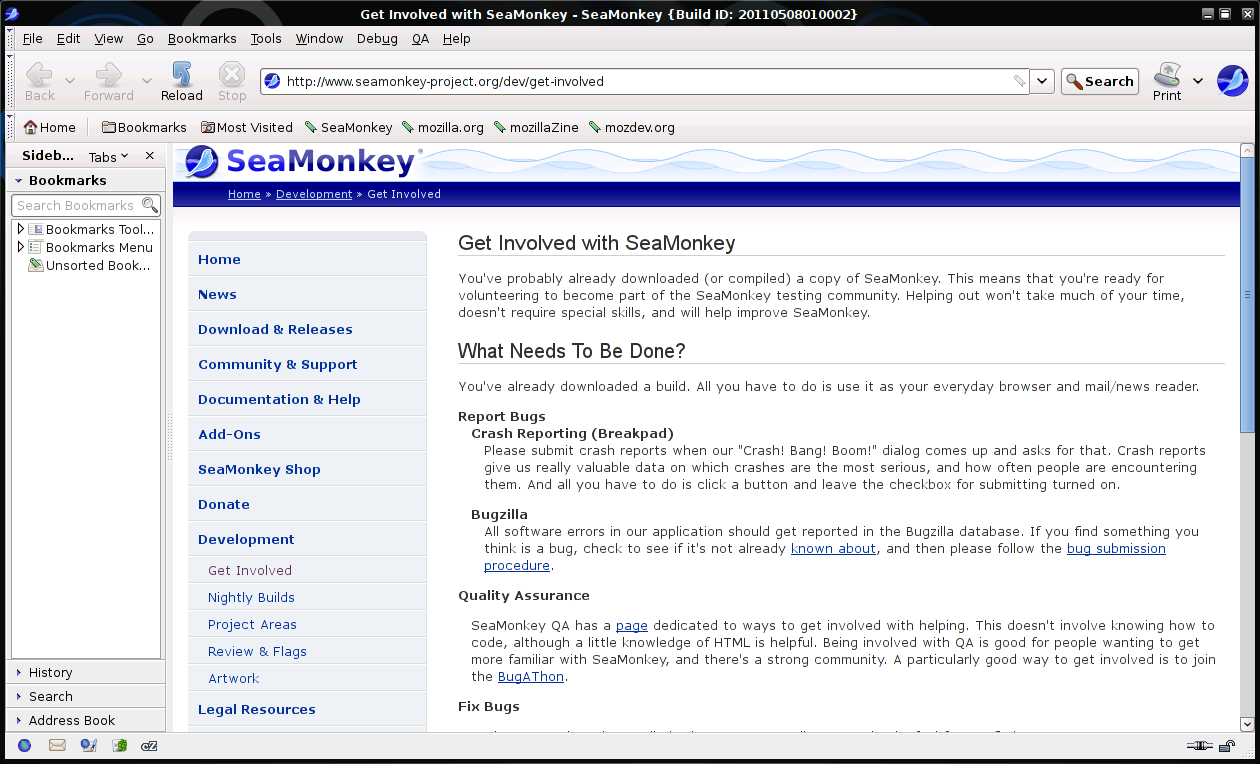 Seamonkey screenshots Linux browser